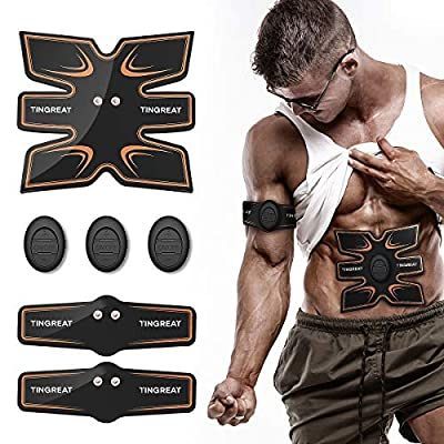TINGREAT Muscle Toner ABS Stimulator, Portable Muscle Trainer, Rechargeable Abdominal Toning Belt Ultimate Muscle Toner for Men Women, Work Out Fitness Abs Abdominal Trainer