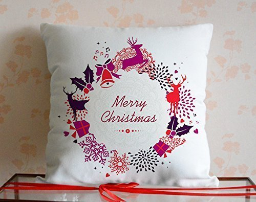 loQuenn Cute Deer Decorazioni Modello Merry Christmas Gift Canvas Throw Pillow Covers Decorative con Zip per Ragazze cstm*4
