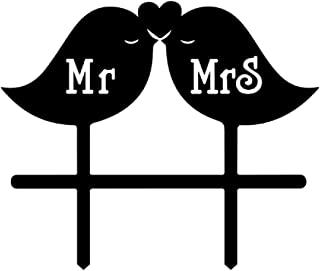 Mr and Mrs Wedding Cake Topper Love Birds Black Silhouette Party Cake Decoration