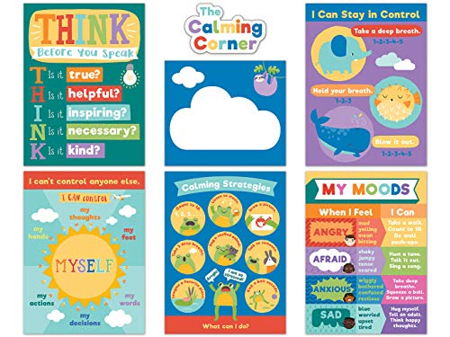 Carson Dellosa Calming Strategies Bulletin Board Set—Calming Strategies and Mood Charts for Social Emotional Learning, Homeschool or Classroom Decor (7 pc)