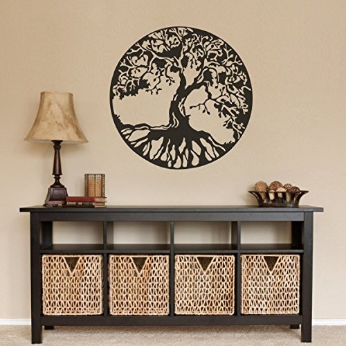Naturaleza Antigua Celtic Árbol de la vida adhesivo para pared Decor árbol pared gráfica dormitorio vinilo, vinilo, marrón oscuro, 36