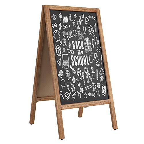 """Homfa Wooden A-Frame Chalkboard, 40""""x20"""" Sturdy Sidewalk Sign Message Blackboard Multipurpose Writing Blackboard for Kids Sturdy Freestanding Sandwich Board Double Side Menu Display for Liquid Chalk"""