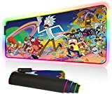 Imegny RGB Mouse Pad, Led Gaming Mouse Pad Oversized Glowing Mat Colorful Soft Mat for Mice Computer Keyboard with Non-Slip Rubber Base Water-Resistant (90x40 rgrikrun)