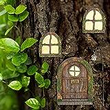 LOVOICE Landhaus Feen Tür,Miniatur Fee Elf Haustür und Fenster, Zubehör für den Garten, leuchtet im Dunkeln, Garten Outdoor Decor Zubehör für Wand und Bäume im Freien