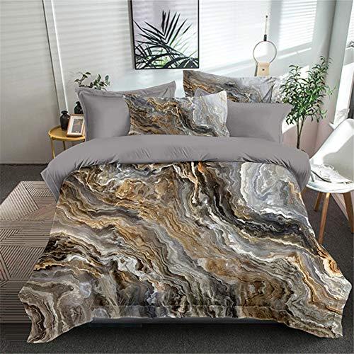 Yinghesheng 3D Print Marble Stone Grain Duvet Cover Comfortable Fabrics Super Soft Breathable Anti-Allergic Microfiber Bedding Set,Gray,135 * 200cm