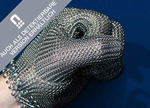 Stechschutz-Kettenhandschuh RAPTOR aus Edelstahl mit/ohne Stulpe, schnittfester Metzgerhandschuh mit Verschlusssystem, Größe:M