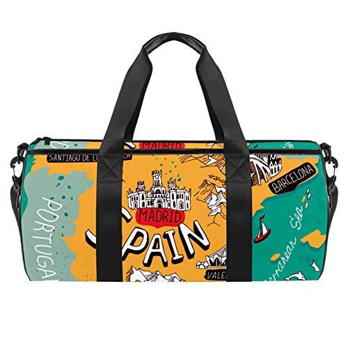 Bolsas de viaje de playa, gran deporte, gimnasio, bolsa de hombro con estampado de mapa de España con bolsillo seco y mojado