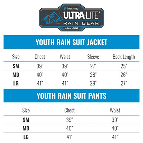 FROGG TOGGS Youth Ultra-Lite2 Waterproof Breathable Protective Rain Suit, Blue, Medium