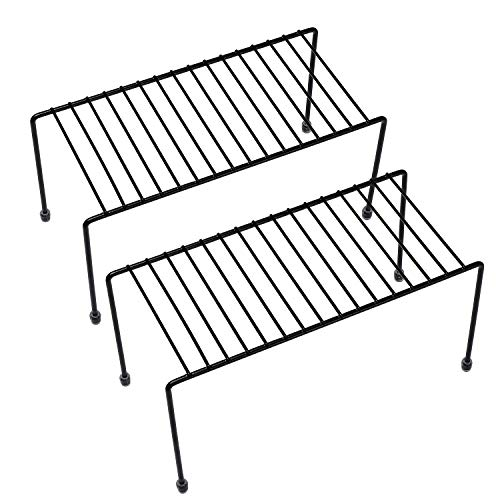 Steel Metal Medium Bronze Kitchen Storage Shelf Rack w//Plastic Feet Rust Resistant Finish Dishes Cups yaenoei 2 Pack Cabinet /& Pantry Organization
