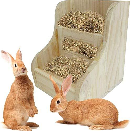 Conejo alimentador del heno del Estante, 2-en-1 alimentador de Madera con Paja para Conejos, Chinchillas, Hamsters y cobayos, garantizado heno Limpio y seco Aceptado,Beige