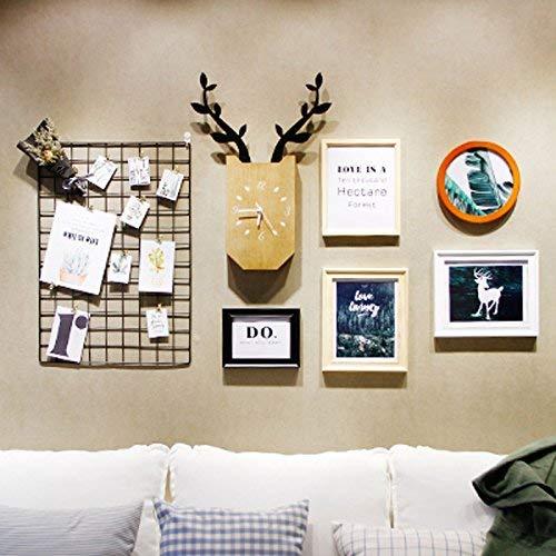 JQWQJ Rejilla de Pared de Foto Estantes de Malla de Hierro Personalizados Decoración roja Combinación de Marcos de Fotos creativos (Color: A)
