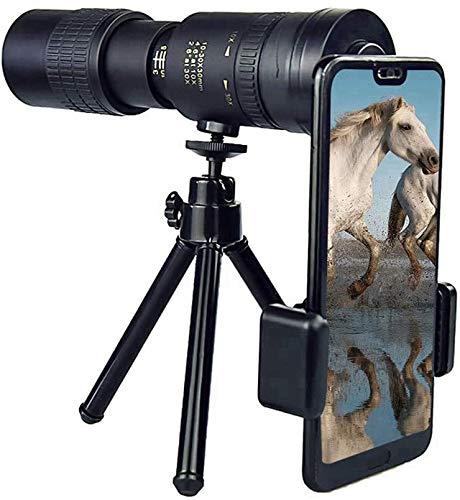 4K 10-300X40mm Super Telephoto Zoom Monocular Telescopio, Lente Portátil HD para Teléfono Celular con Soporte para Smartphone y Trípode, para Viajes de Playa para Observación de Aves / Caza/Camping