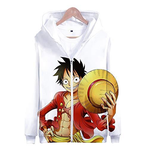 Nicoole One Piece Hoodie Veste Sweat 3D Imprimer Vogue Zipper Hoodies Hommes/Femmes Hiver À Manches Longues Anime Hoodies Vêtements L