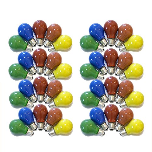 40er Set Glühbirnen farbig gemischt 25W E27 Rot Gelb Grün Blau Orange für Außen & Innen - Party & Biergarten