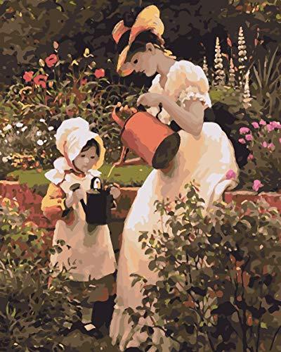 Olieverfschilderij om te knutselen, digitaal, voor kinderen en volwassenen, voor het beschilderen van cijfers, Home Decor voor meisjes, bloemen, gieter 50x65cm