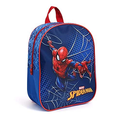 PERLETTI Zainetto Bambino Spiderman per Asilo - Zaino Bimbo Marvel Spider Man per Viaggi e Tempo Libero - Piccola Cartella Scuola Materna Rosso Blu per Bambini 3 4 5 Anni - 30x24x10 cm