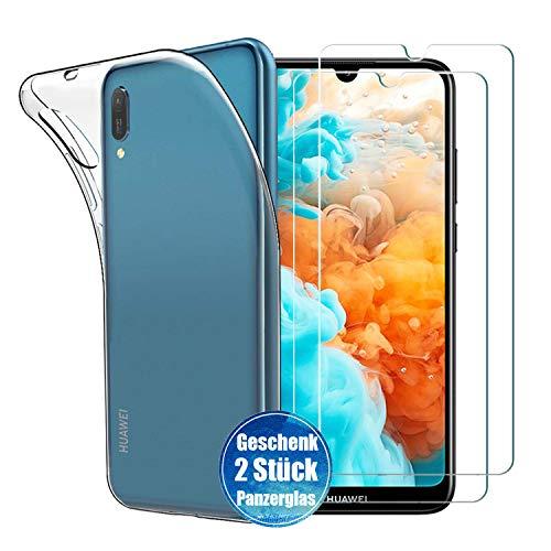 iLieber Huawei Y6 2019 Hülle Panzerglas, [1 Hülle + 2 Panzerglas] Hülle Schutzhülle Soft TPU Bumper Case Cover Crystal Clear [Ultra Dünn] Folie Glas 9H Panzerglasfolie für Huawei Y6 2019 (6.09 Zoll)