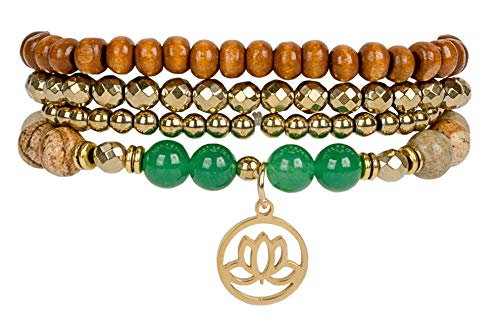 SPUNKYsoul Lotus New Beginnings Bracelet Hematite for Healing Stack Bracelet Set Collection