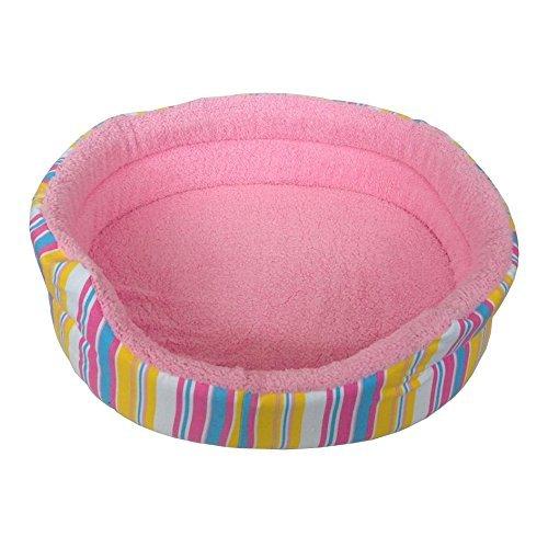 Grande suave mascota cama rosa rayas impresión perro gato cachorro gatito suave forro polar