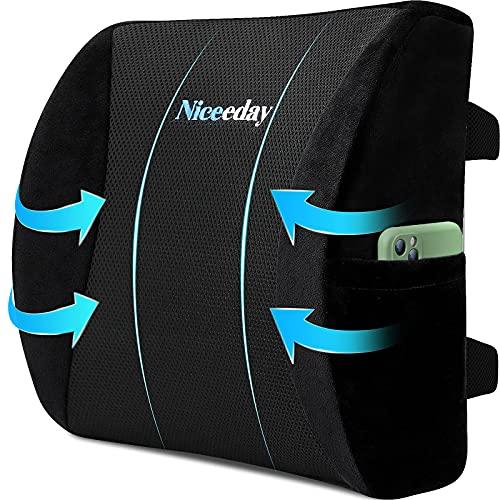 Ländstöd kudde för kontorsstol bil korsryggskudde, minnesskum ryggkudde med andningsbar 3D nät ländrygg stöd ortopediskt ryggstöd för nedre ryggsmärtor