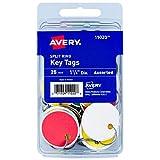 Avery Metal Rim Key Tags, 1.25' Diameter Tag, Metal Split Ring, Assorted Colors, 25 Tags (11020)