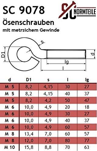/Ösenschrauben mit metrischem Gewinde Gewindel/änge: 47 mm - aus Edelstahl A2 V2A SC9078 2 St/ück SC-Normteile/® M5 x 50 mm - - Gewinde/ösen//Ringschrauben -