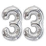 Ponmoo Birthday Ballon Chiffre 33 Argent 86cm, Ballon Age Birthday Ballons Numéro Anniversaire Chiffres 33 Ans Birthday Party - 32 Pouce Argent 33