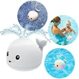 DPTOYZ Light Up Bath Toys, Baby Bathtub Toys Induction Whale Sprinkler Bath Toy with Seven Kinds of Flashing Light, Pool Bath Tub Toys for Toddlers 1,2,3 Years (White)