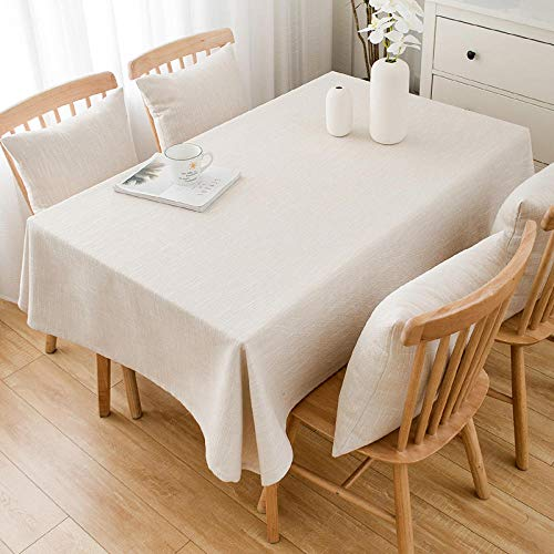 YuHengJin Rectangular Tablecloth Stain Proof Cotton Linen Thick and Durable Folding Various Sizes Table Cloth Cream Color 90×150cm