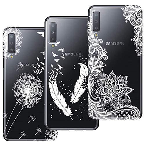 HopMore 3X Hüllen Silikon Handyhüllen für Samsung Galaxy A7 2018 Hülle Transparent Schutzhülle Durchsichtig Elegant Muster Handyhülle Ultra Dünn Silikonhülle Slim Bumper Hülles Cover - Design 1