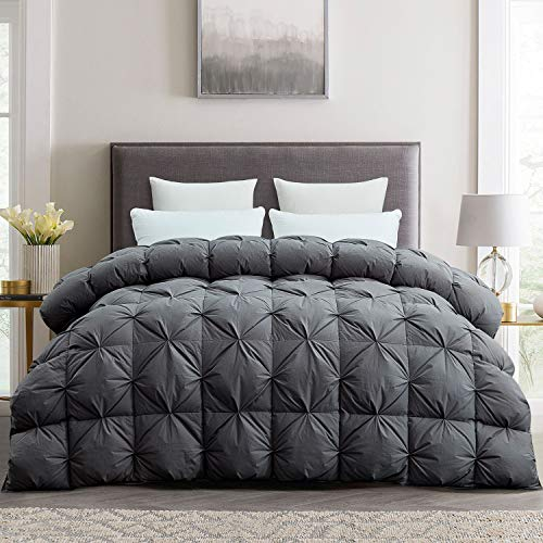 Luxurious Goose Down Comforter Duvet Insert, Pinch Pleat Design,750+ Fill Power 65oz Fill Weight, 1200 Thread Count 100% Cotton Shell Hypoallergenic Down Proof with 8 Tab(Pinch Pleat) (Twin, Grey)