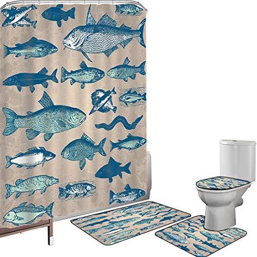 Set di tende per doccia Accessori il bagno tappeti Marina di tema costiero nautico di pesce Tappetino da bagno con tappetino per WC Creature marine Acquario tropicale Acquerelli artistici da pesca Spi