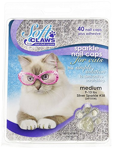 Soft Claws Feline Nail Caps - 40 Nail Caps and Adhesive for Cats (Silver Sparkle, Medium)
