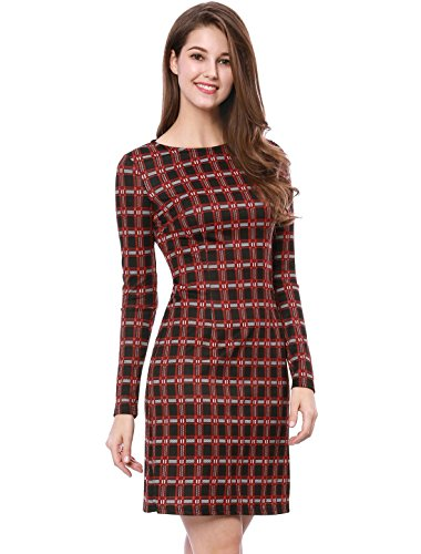 Allegra K Damen Langarm Rundhals Colorblock Karo Etuikleid Kleid Rot M