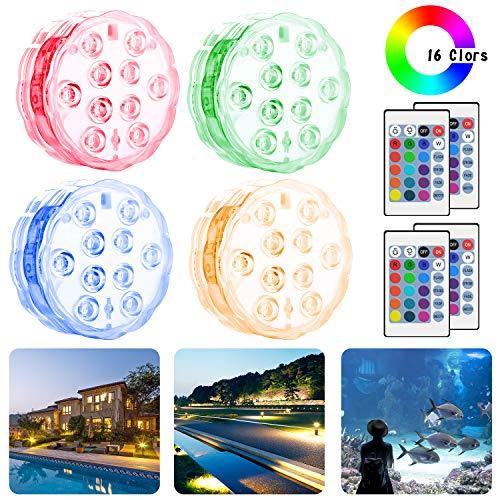Cypin Unterwasser Licht,RGB Multi Farbwechsel Wasserdichtes LED Licht mit RF-Fernbedienung Poolbeleuchtung für Vase Base/Aquarium/Party/Hochzeit/Weihnachten/Schwimmbad/ - 4 Stück