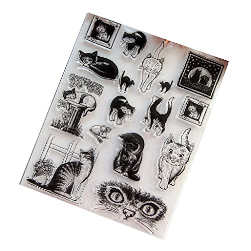 PHILSP Sello Claro Sello de Silicona para DIY Scrapbook Diary Album Photo Decor T1039 Cat