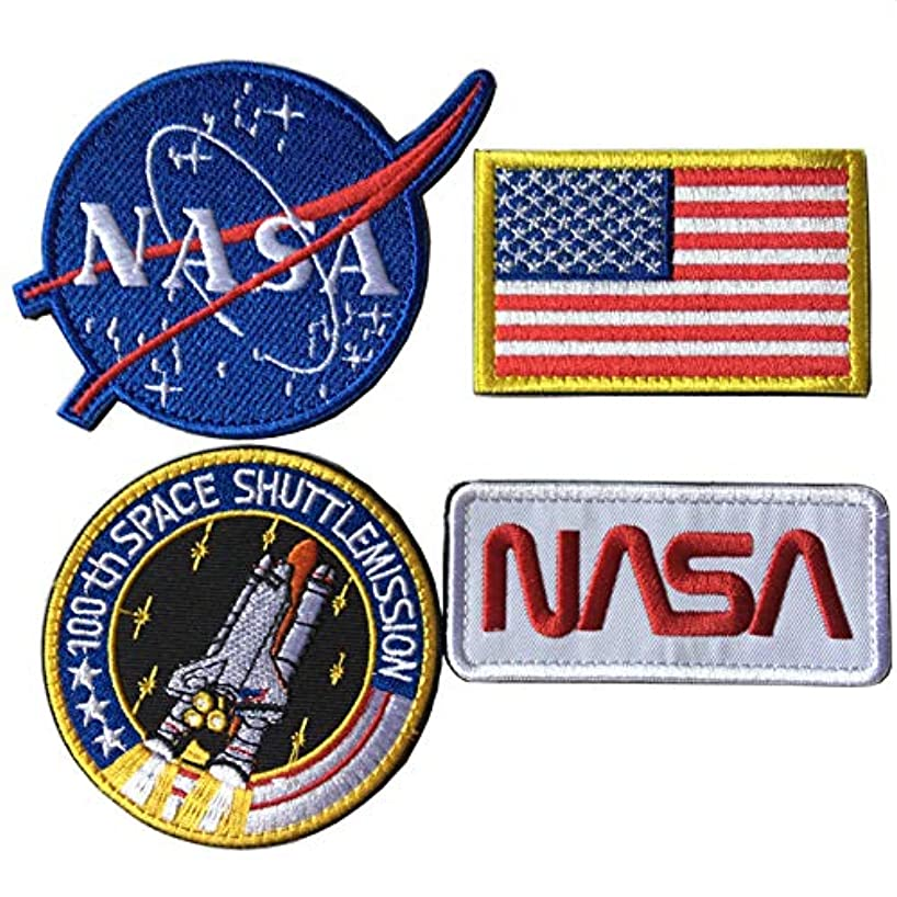 Bundle 4 Pcs Tactical Flag Patch - Space Fans USA NASA Patch Embroidered Morale Lot Military Embroidered Patches (A-Velcro Hook Backing) knrblxwkin