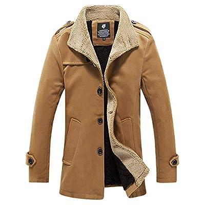 UOFOCO Warm Thickened Jacket for Mens Outdoor Fleece Coat Jacket Autumn Winter Tops Blouse Khaki