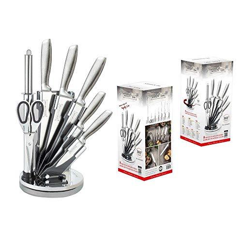 Royalty Line RL-KSS - Juego de 8 cuchillos de acero inoxidable con soporte giratorio + tijeras, afilador de cuchillos