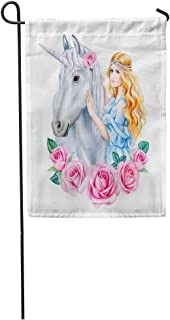 Tarolo Decoration Flag Blue Crown Unicorn and Princess Flower in Wreath Girl Golden Hair Horse Cinderella Watercolor Clipart Roses Thick Fabric Double Sided Home Garden Flag 12