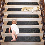 Non Slip Stair treads-Cozy Soft Stair Carpet for Wood Stair treads-8'X30' Set of 15-Backing Adhesive for Easy Installation-Washable Stair Tread Easy to Clean-Safe for Kids Pets Elder (Grey 8x30)