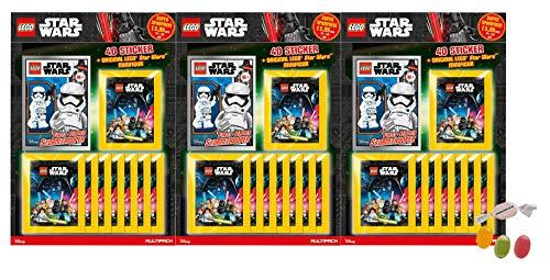 ★ L.ego Star Wars Sticker 2020 - alle 3 Verschiedene Multipacks (je 8 Stickertüten + 1 von 3 Lego Star Wars Figuren) zusätzlich 1 x Fruchtmix Sticker-und-co Bonbon