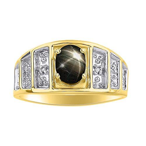 Juego de anillos de zafiro con estrella negra y diamante en oro amarillo de 14 quilates, piedra de color
