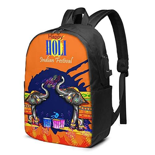 Laptop Backpack with USB Port Happy Festival 372, Business Travel Bag, College School Computer Rucksack Bag for Men Women 17 Inch Laptop Notebook
