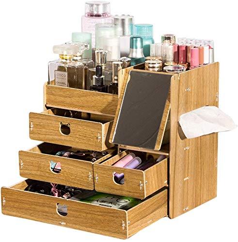 Badkamerhouder, grote inhoud, van hout, voor cosmetica, opbergdoos, knutselen, kantoor, afwerking Bruin