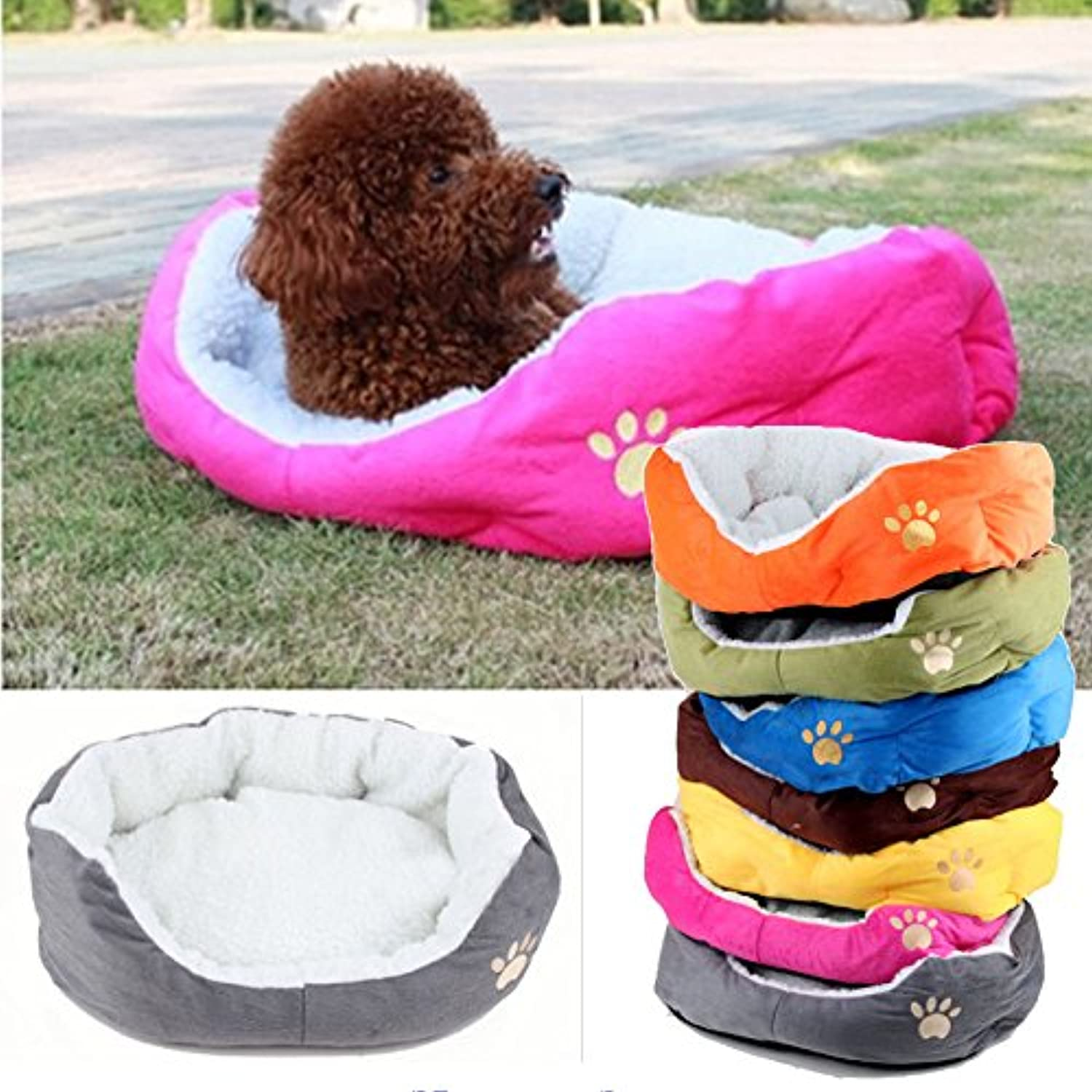 AOBILE(TM)Paw Print Cats Puppy Beds Comfortable Pets Dog Kitten Beddings House Pet Dog Puppy Cat Soft Fleece Bed House Cozy Nest Mat Pad