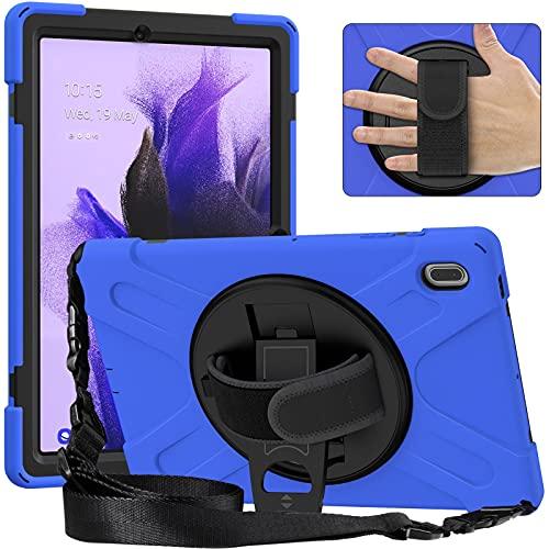 Tablet PC Bolsas Bandolera Tablet Funda para Samsung Galaxy Tab S7 FE 12.4 T730, Cubierta a prueba de choques a prueba de choques de cuerpo completo con correa de mano / correa de hombro Kickstero gir