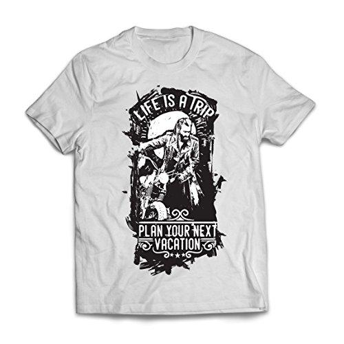 lepni.me Camisetas Hombre la Vida es un Viaje - Ideas de Regalos para Moteros, diseño gráfico de Bicicletas Vintage, amar Las Motocicletas (X-Large Blanco Multicolor)