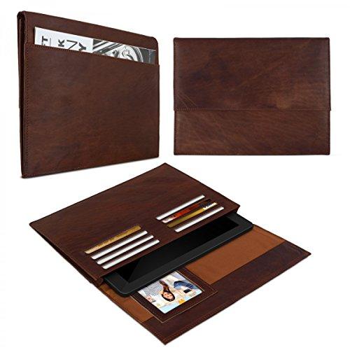 eFabrik Schutztasche für Medion LifeTab P8502 Hülle (MD99814) kompatibles ALDI Tablet 8 Zoll Ledertasche Lederhülle Schutz Hülle Sleeve Folio Leder Cognac braun