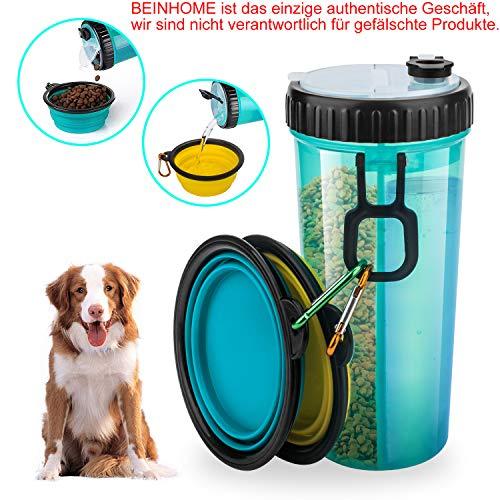 Beinhome Hunde Wasserflasche mit 2 Faltschüsseln,2in1 Hunde Trinkflasche für Unterwegs 400ML,Tragbare Reise Trinkflasche Wasserspender für Gehen,Wandern&Reisen, einzige authentische Geschäft